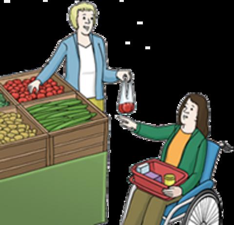 Eine Frau hilft einer anderen Frau im Rollstuhl beim Einkaufen