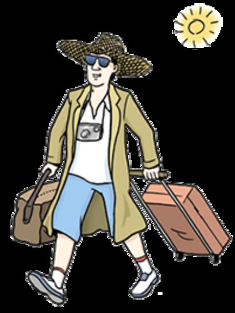 Ein Mann trägt seinen Koffer und fährt in den Urlaub