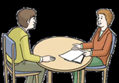 Zwei Menschen im Dialog
