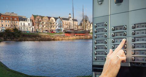 alter Hafen von Cuxhaven und Klingelschild