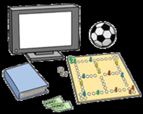 Fernseher, Ball, Brettspiel und Bücher