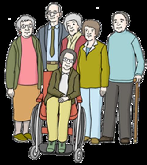 Ältere Bewohner einer Wohngruppe stehen beisammen
